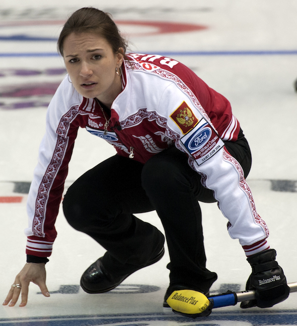 Russian skip Anna Sidorova has her team on the verge of a playoff position at the 2014 Ford Worlds. (Photo, CCA/Michael Burns)