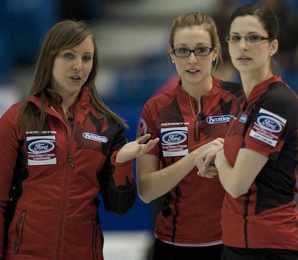 Team Canada skip Rachel Homan, left, discusses strategy with teammates Alison Kreviazuk, middle, and Lisa Weagle. (Photo, CCA/Michael Burns)