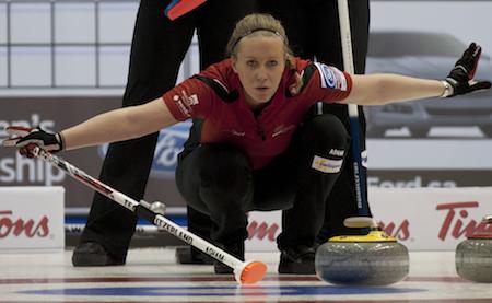 Swiss third Irene Schori calls off her sweepers during win over Scotland. (Photo, CCA/Michael Burns)