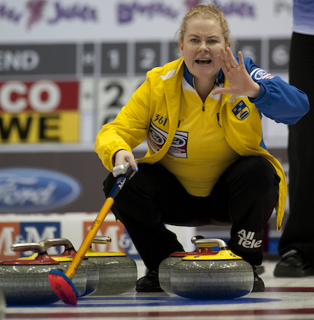 Swedish skip Margaretha Sigfridsson instructs her sweepers during win over Scotland. (Photo, CCA/Michael Burns)