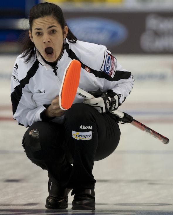 Swiss skip Binia Feltscher shows her intensity during Thursday's loss to Russia. (Photo, CCA/Michael Burns)