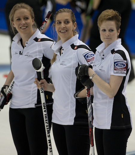 Swiss teammates, from left, Irene Schori, Christine Urech and Franciska Kaufmann had reason to smile on Thursday. (Photo, CCA/Michael Burns)
