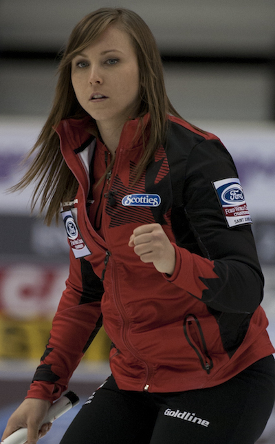 Team Canada skip Rachel Homan celebrates a big shot against Sweden. (Photo, CCA/Michael Burns)