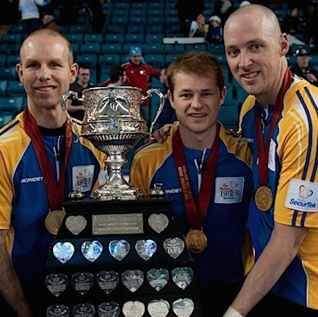 The 2014 Tim Hortons Brier champs, from left, third Pat Simmons, second Carter Rycroft and lead Pat Simmons, will have a new skip calling the shots next season. (Photo, CCA/Michael Burns)