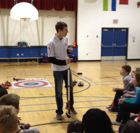 Justin Smidt brings Rocks & Rings to schools all across Alberta. Rocks & Rings is sometimes a child's only exposure to curling.