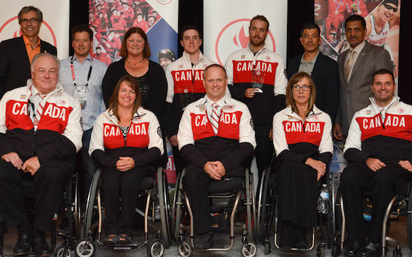 Canada's Paralympic wheelchair curling team, from left, Jim Armstrong, Ina Forrest, Dennis Thiessen, Sonja Gaudet and Mark Ideson, are joined by fellow winners at the 214 Canadian Paralympic 2014 Sport Awards. (Photo: Charles Gordon/Canadian Paralympic Committee)