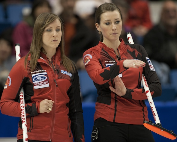 Rachel Homan, pictured with third Emma Miskew, finished second at the Stockholm Ladies Cup in Sweden on the weekend, and now leads the Canadian Team Ranking System standings. (Photo, CCA/Michael Burns)
