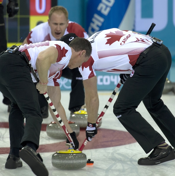 Brad Jacobs, top, along with teammates E.J. Harnden, left, and Ryan Harnden, prevailed at the World Curling Tour AMJ Campbell Shorty Jenkins Classic on the weekend in Brockville, Ont.