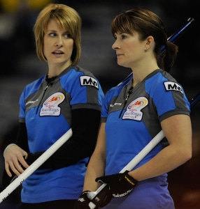 """""""Our biggest curling heroes growing up were none other than Marliese and Stefanie Miller, now Marliese Kesner (right) and Stefanie Lawton (left). We thought it was so cool that two sisters could not only play together, but also win together. We often chatted, and even dared to dream, about what that could be like for us. (Photo Michael Burns/CCA)"""