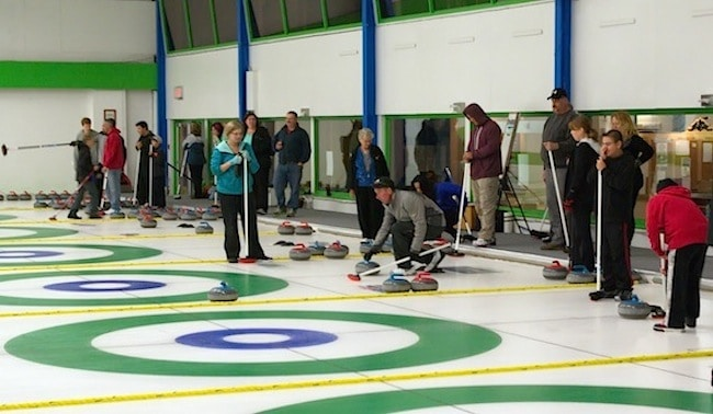 Action on the ice during the annual Open House at the Juan de Fuca Curling Centre (Photo Doug Butler)