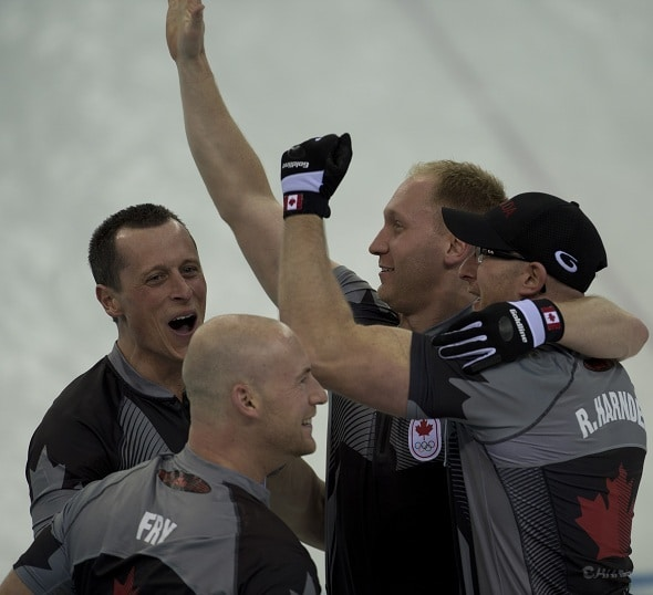 Team Jacobs, from left, E.J. Harnden, Ryan Fry, Brad Jacobs and Ryan Harnden will be in action this weekend in Brockville, Ont. (Photo, CCA/Michael Burns)