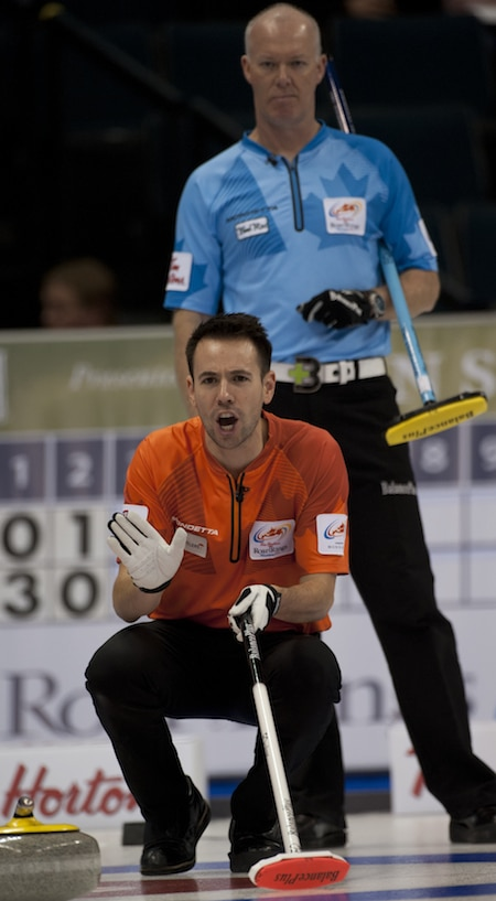 John Epping, left, and Glenn Howard are among the skips playing this weekend in Portage la Prairie, Man. (Photo, CCA/Michael Burns)