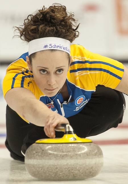 Joanne Courtney, in action last season at the Scotties Tournament of Hearts with Team Alberta, will be at the 2015 Scotties in Moose Jaw, Sask., as a member of Rachel Homan's Team Canada foursome. (Photo, CCA/Andrew Klaver)