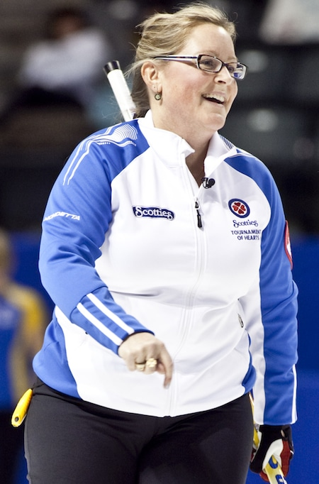BC skip Kelly Scott watches her shot during 4th draw action at the 2013 Scotties Tournament of Hearts, February 16, 24th, Kingston, Ontario The Canadian Womans Curling Championship.