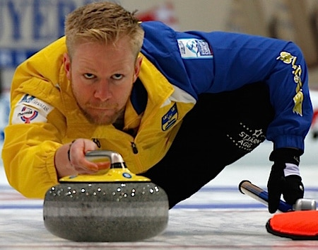 Swedish skip Niklas Edin, in action this week at the Le Gruyère European Championships in Switzerland. (Photo, World Curling Federation/Richard Gray)
