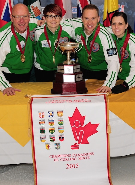 Canadian Mixed Curling Championship gold-medallists, Team Saskatchewan, from left, skip Max Kirkpatrick, third Jolene Campbell, second Chris Haichert, lead Teejay Haichert. (Brian Doherty Photography)