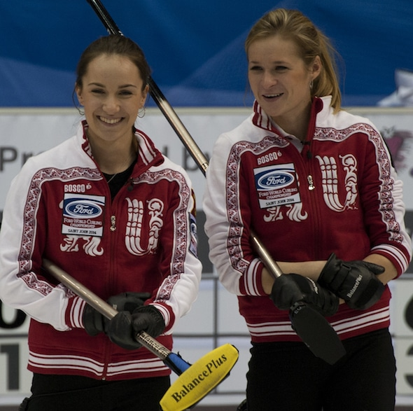 Russian skip Anna Sidorova, left, and third Margarita Fomina are competing this week at the Le Gruyère European Championships in Switzerland. (Photo, CCA/Michael Burns)