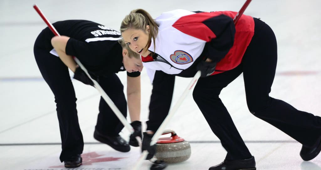 Ontario's Trish Hill and Jessica Barcauskas in action at the 2015 Canadian Mixed Curling Championship in North Bay, Ont. (CCA Photo)