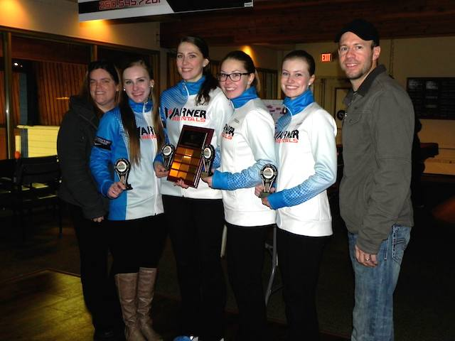 Winners of the Junior Women's event, Team Brown: Corryn Brown, Erin Pincott, Samantha Fisher and Sydney Fraser with organizer Jim Cotter and their coach Allison MacInnes (Photo Karen Mosure)