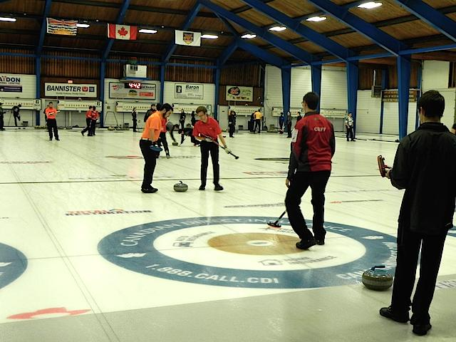Team Cliff in action on the ice during the Prestige Hotels Rick Cotter Memorial Junior Curling Classic (Photo by Karen Mosure)