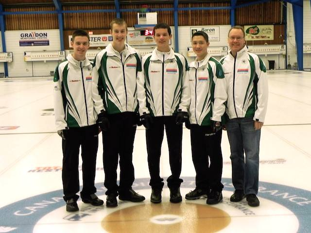 Winners of the Junior Men's event, Team Tardi: Tyler Tardi, Jordan Tardi, Nicholas Meister and Zachary Umbach with their coach, Paul Tardi (Photo Karen Mosure)