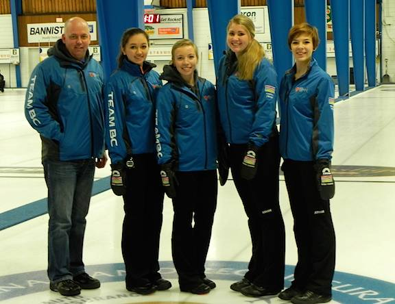 Junior Women's Event Finalists Team Daniels (Sarah Daniels, Dezaray Hawes, Cierra Fisher and Sydney Hofer with coach Ernie Daniels) are headed to Prince George in February to represent British Columbia at the 2015 Canada Winter Games along with Team Tardi, the Junior Men's winners (Photo Mosure)