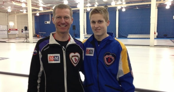 At the 2013 M&M Meat Shops Canadian Junior Curling Championships, Wade Scoffin coached Team Yukon, while son Thomas skipped Team Alberta (CCA Photo)
