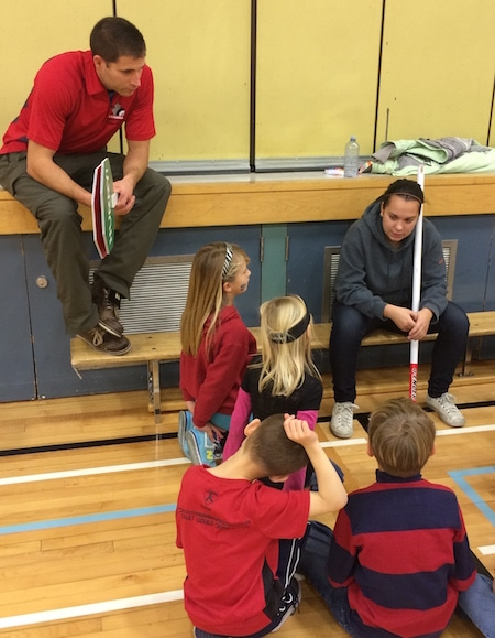 CCA Rocks & Rings instructor Mackenzie Jefferies speaks to the students at Elbow Valley Elementary. (Photo, CCA)