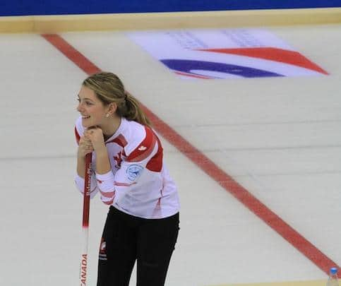New Brunswick Rocks & Rings instructor Cathlia Ward brings a wealth of curling experience to her job. Here she is in action at the 2014 World Junior Curling Championships in Flims, Switzerland (Photo courtesy of C. Ward)