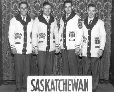 The 1955 Brier winners (l-r): lead Lloyd Campbell, second Glenn Campbell, third Don Campbell and skip Garnet Campbell (Photo courtesy Saskatchewan Curling Association Hall of Fame)