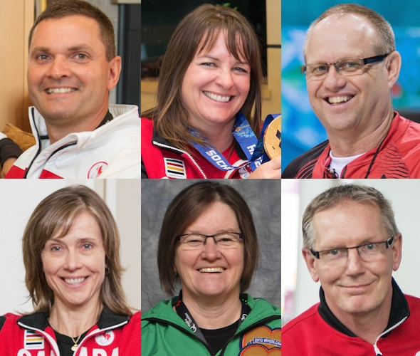 Team Canada for the World Wheelchair Curling Championship, clockwise from top left, skip Mark Ideson (lead rocks), vice-skip Ina Forrest, third Dennis Thiessen, coach Joe Rea, alternate Marie Wright, second Sonja Gaudet.