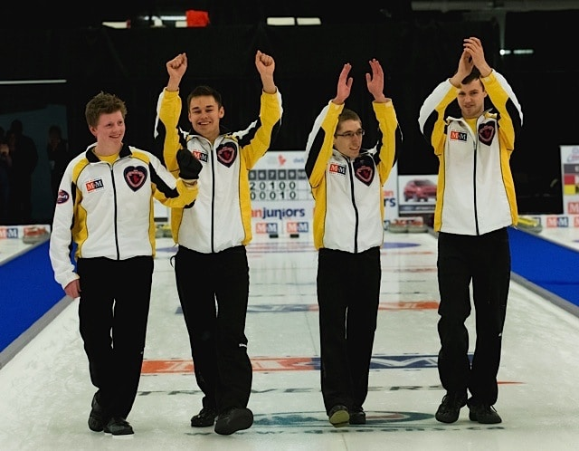 Team Manitoba waves to the crowd after winning the men's final at the M&M Meat Shops Canadian Junior Curling Championships: (L-R) skip Braden Calvert, Manitoba third Kyle Kurz, Manitoba second Lucas Van Den Bosch and Manitoba lead Brendan Calvert (CCA Photo)