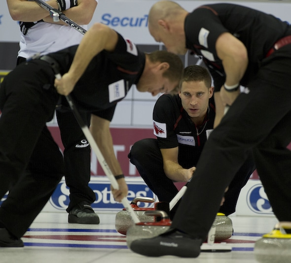 From left, Carter Rycroft, Nolan Thiessen and John Morris are putting the finishing touches on their preparation for the 2015 Tim Hortons Brier. (Photo, CCA/Michael Burns)