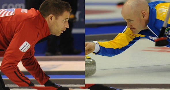 John Morris, left, and Kevin Koe will play the Battle of Alberta at the Tim Hortons Brier in their hometown of Calgary. (Photos, CCA/Michael Burns)