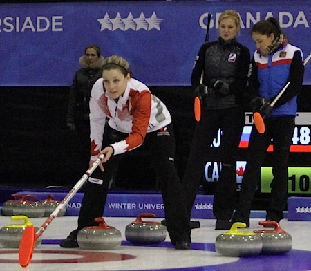 Canada's Breanne Meakin, left, calls the shot as Russia's Margarita Fomina, middle, and Anna Sidorova look on. (Photo, Canadian Interuniversity Sport)