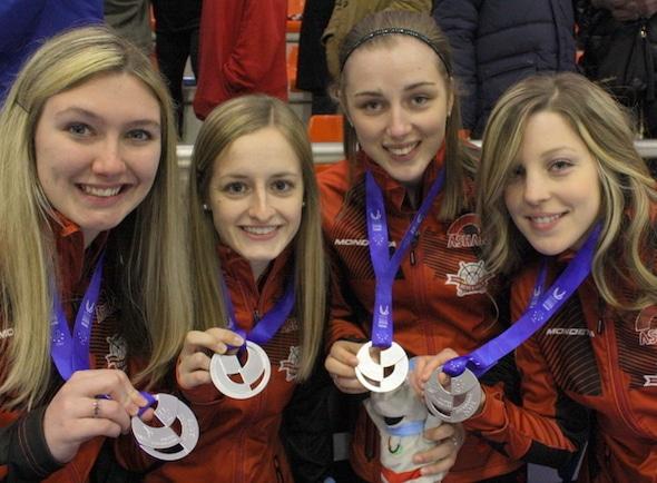 Team Canada, 2015 Universiade silver-medallists, from left, third Lauren Horton, second Lynn Kreviazuk, lead Jessica Armstrong, skip Breanne Meakin.