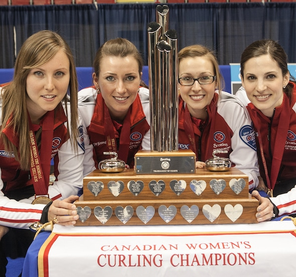 Alison Kreviazuk, second from right, with teammates, from left, Rachel Homan, Emma Miskew and Lisa Weagle after winning the 2014 Scotties in Montreal. (Photo, CCA/Andrew Klaver)