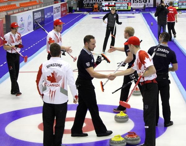 Handshakes for Team Canada after a 9-5 win over Russia at the 2015 Universiade in Granada, Spain (Photo Brian Chick)