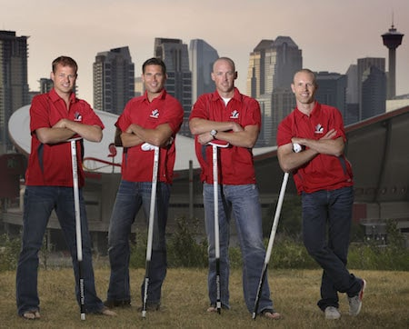 Team Canada, from left, Carter Rycroft, John Morris, Nolan Thiessen and Pat Simmons will open the Tim Hortons Brier on Saturday.