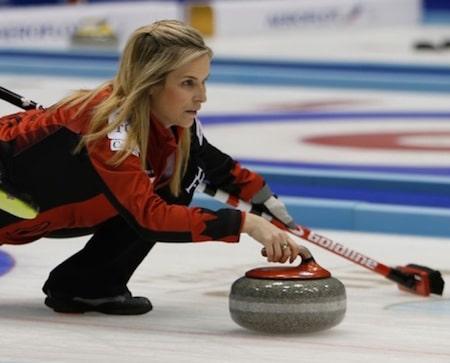 Team Canada skip Jennifer Jones delivers a shot. (Photo, WCF/Richard Gray)