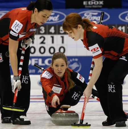 Team Canada vice-skip Kaitlyn Lawes delivers her rock to sweepers Jill Officer, left, and Dawn McEwen. (Photo, WCF/Richard Gray)