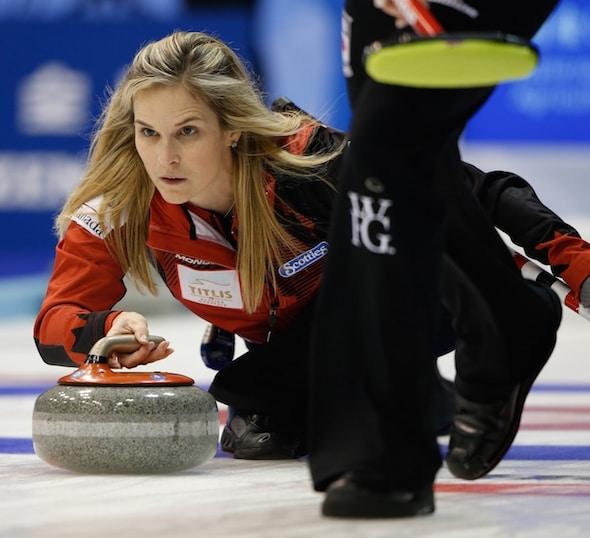 Team Canada skip Jennifer Jones made a draw to the button to beat Russia on Monday night. (Photo, WCF/Richard Gray)