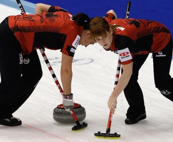 Team Canada's Jill Officer, left, and Dawn McEwen sweep a rock. (Photo, WCF/Richard Gray)