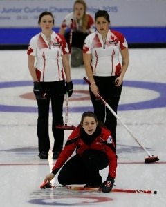 Holly Jamieson and Jessica Iles watch the line of the Swiss rock during their second last round robin game (Photo WCF/Richard Gray)