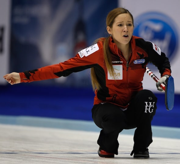 Kaitlyn Lawes calls out instructions to sweepers during Wednesday night's game. (Photo, WCF/Richard Gray)