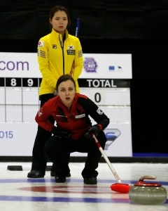 Kelsey Rocque calls line during the last round robin game  (Photo WCF/Richard Gray)
