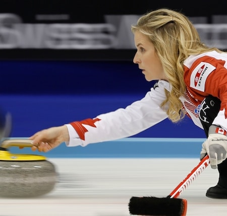 Team Canada skip Jennifer Jones and her team improved to 2-0 with a win over Scotland. (Photo, WCF/Richard Gray)