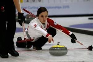 Kelsey Rocque delivers a rock during the morning game versus Russia (Photo WCF/Richard Gray)