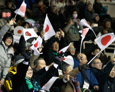 Japanese fans cheer on their team in Sapporo. (Photo, WCF/Richard Gray)