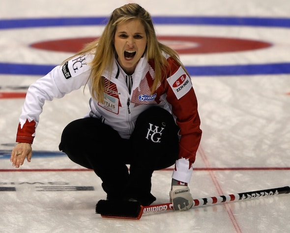 Jennifer Jones and Team Canada lost their first game Sunday night, 8-6 to Sweden. (Photo, WCF/Richard Gray)